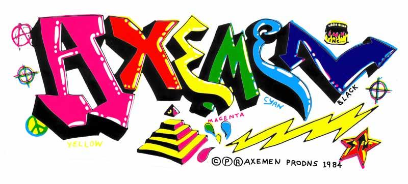AXEMEN sticker 4-colour screenprint from graffiti sketch 1985 by Stu