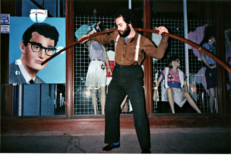 Bill Vosburgh and Buddy Holly, Cashel Mall (opp. Ink Inc) ChCh 1985