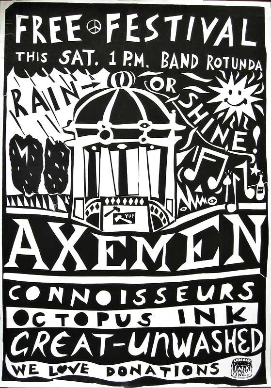 Free Festival Poster A2 by Stu Kawowski printed at INK INC.