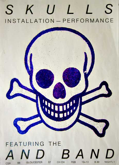 Glitter screenprint poster for artist Graham Snowden's SKULLS installation/performance featuring The And Band, c. 1984 (poster printed by Kawowski at Ink Inc).